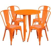 Flash Furniture CH-51090TH-4-18CAFE-OR-GG 30 inch Round Orange Metal Indoor / Outdoor Table with 4 Cafe Chairs