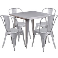Flash Furniture ET-CT002-4-30-SIL-GG 31 1/2 inch Square Silver Metal Indoor / Outdoor Table with 4 Cafe Chairs