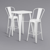 Flash Furniture CH-31330B-2-30GB-WH-GG 23 3/4 inch Square White Metal Indoor / Outdoor Bar Height Table with 2 Cafe Stools