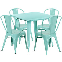 Flash Furniture ET-CT002-4-30-MINT-GG 31 1/2 inch Square Mint Metal Indoor / Outdoor Table with 4 Cafe Chairs