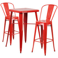 Flash Furniture CH-31330B-2-30GB-RED-GG 23 3/4 inch Square Red Metal Indoor / Outdoor Bar Height Table with 2 Cafe Stools