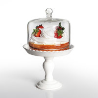 The Jay Companies Bianca 8 inch White Ceramic Pedestal Cake Stand with Glass Dome Cover