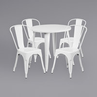 Flash Furniture CH-51090TH-4-18CAFE-WH-GG 30 inch Round White Metal Indoor / Outdoor Table with 4 Cafe Chairs