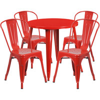Flash Furniture CH-51090TH-4-18CAFE-RED-GG 30 inch Round Red Metal Indoor / Outdoor Table with 4 Cafe Chairs
