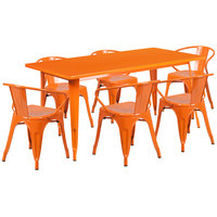 Flash Furniture ET-CT005-6-70-OR-GG 31 1/2 inch x 63 inch Rectangular Orange Metal Indoor / Outdoor Dining Height Table with 6 Arm Chairs