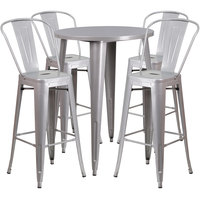 Flash Furniture CH-51090BH-4-30CAFE-SIL-GG 30 inch Round Silver Metal Indoor / Outdoor Bar Height Table with 4 Cafe Stools
