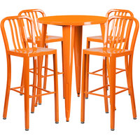 Flash Furniture CH-51090BH-4-30VRT-OR-GG 30 inch Round Orange Metal Indoor / Outdoor Bar Height Table with 4 Vertical Slat Back Stools