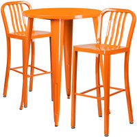 Flash Furniture CH-51090BH-2-30VRT-OR-GG 30 inch Round Orange Metal Indoor / Outdoor Bar Height Table with 2 Vertical Slat Back Stools