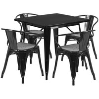 Flash Furniture ET-CT002-4-70-BK-GG 32 inch Square Black Metal Indoor / Outdoor Dining Height Table with 4 Arm Chairs