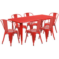Flash Furniture ET-CT005-6-30-RED-GG 31 1/2 inch x 63 inch Rectangular Red Metal Indoor / Outdoor Dining Height Table with 6 Cafe Style Chairs