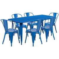 Flash Furniture ET-CT005-6-30-BL-GG 31 1/2 inch x 63 inch Rectangular Blue Metal Indoor / Outdoor Dining Height Table with 6 Cafe Style Chairs