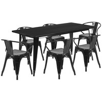 Flash Furniture ET-CT005-6-70-BK-GG 31 1/2 inch x 63 inch Rectangular Black Metal Indoor / Outdoor Dining Height Table with 6 Arm Chairs