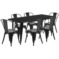 Flash Furniture ET-CT005-6-30-BK-GG 31 1/2 inch x 63 inch Rectangular Black Metal Indoor / Outdoor Dining Height Table with 6 Cafe Style Chairs