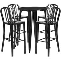 Flash Furniture CH-51090BH-4-30VRT-BK-GG 30 inch Round Black Metal Indoor / Outdoor Bar Height Table with 4 Vertical Slat Back Stools