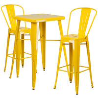 Flash Furniture CH-31330B-2-30GB-YL-GG 24 inch Square Yellow Metal Indoor / Outdoor Bar Height Table with 2 Cafe Stools