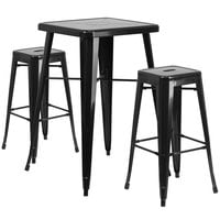Flash Furniture CH-31330B-2-30SQ-BK-GG 24 inch Square Black Metal Indoor / Outdoor Bar Height Table with 2 Square Seat Backless Stools