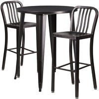 Flash Furniture CH-51090BH-2-30VRT-BQ-GG 30 inch Round Black-Antique Gold Metal Indoor / Outdoor Bar Height Table with 2 Vertical Slat Back Stools