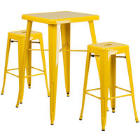 Flash Furniture CH-31330B-2-30SQ-YL-GG 24 inch Square Yellow Metal Indoor / Outdoor Bar Height Table with 2 Square Seat Backless Stools