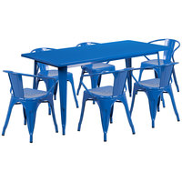 Flash Furniture ET-CT005-6-70-BL-GG 31 1/2 inch x 63 inch Rectangular Blue Metal Indoor / Outdoor Dining Height Table with 6 Arm Chairs