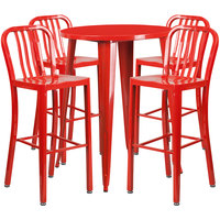 Flash Furniture CH-51090BH-4-30VRT-RED-GG 30 inch Round Red Metal Indoor / Outdoor Bar Height Table with 4 Vertical Slat Back Stools