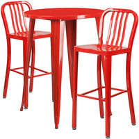 Flash Furniture CH-51090BH-2-30VRT-RED-GG 30 inch Round Red Metal Indoor / Outdoor Bar Height Table with 2 Vertical Slat Back Stools