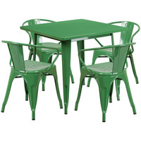 Flash Furniture ET-CT002-4-70-GN-GG 32 inch Square Green Metal Indoor / Outdoor Dining Height Table with 4 Arm Chairs