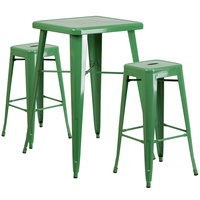 Flash Furniture CH-31330B-2-30SQ-GN-GG 24 inch Square Green Metal Indoor / Outdoor Bar Height Table with 2 Square Seat Backless Stools