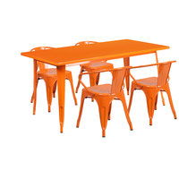 Flash Furniture ET-CT005-4-70-OR-GG 31 1/2 inch x 63 inch Rectangular Orange Metal Indoor / Outdoor Dining Height Table with 4 Arm Chairs