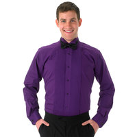 Henry Segal Unisex Customizable Purple Tuxedo Shirt with Wing Tip Collar - XL