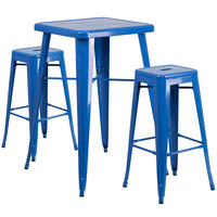 Flash Furniture CH-31330B-2-30SQ-BL-GG 24 inch Square Blue Metal Indoor / Outdoor Bar Height Table with 2 Square Seat Backless Stools