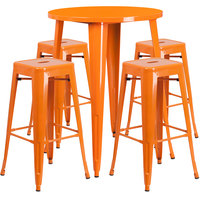 Flash Furniture CH-51090BH-4-30SQST-OR-GG 30 inch Round Orange Metal Indoor / Outdoor Bar Height Table with 4 Square Seat Backless Stools