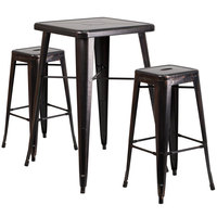 Flash Furniture CH-31330B-2-30SQ-BQ-GG 24 inch Square Black-Antique Metal Indoor / Outdoor Bar Height Table with 2 Square Seat Backless Stools
