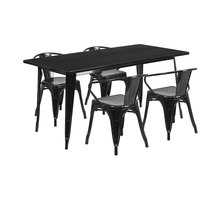 Flash Furniture ET-CT005-4-70-BK-GG 31 1/2 inch x 63 inch Rectangular Black Metal Indoor / Outdoor Dining Height Table with 4 Arm Chairs