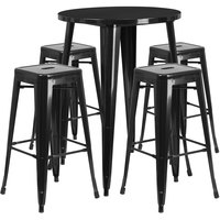 Flash Furniture CH-51090BH-4-30SQST-BK-GG 30 inch Round Black Metal Indoor / Outdoor Bar Height Table with 4 Square Seat Backless Stools