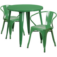 Flash Furniture CH-51090TH-2-18ARM-GN-GG 30 inch Round Green Metal Indoor / Outdoor Table with 2 Arm Chairs