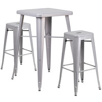 Flash Furniture CH-31330B-2-30SQ-SIL-GG 24 inch Square Silver Metal Indoor / Outdoor Bar Height Table with 2 Square Seat Backless Stools