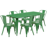 Flash Furniture ET-CT005-6-30-GN-GG 31 1/2 inch x 63 inch Rectangular Green Metal Indoor / Outdoor Dining Height Table with 6 Cafe Style Chairs
