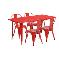 Flash Furniture ET-CT005-4-30-RED-GG 31 1/2 inch x 63 inch Rectangular Red Metal Indoor / Outdoor Dining Height Table with 4 Cafe Style Chairs