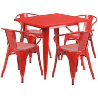 Flash Furniture ET-CT002-4-70-RED-GG 32 inch Square Red Metal Indoor / Outdoor Dining Height Table with 4 Arm Chairs