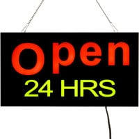 Choice 19 inch x 10 inch LED Solid Rectangular Open 24 Hours Sign with Two Display Modes