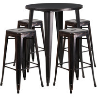 Flash Furniture CH-51090BH-4-30SQST-BQ-GG 30 inch Round Black-Antique Gold Metal Indoor / Outdoor Bar Height Table with 4 Square Seat Backless Stools