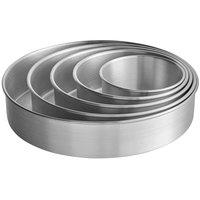 Round 3 inch Deep Aluminum Straight-Sided Cake Pan Set - 6 inch, 8 inch, 10 inch, 12 inch, and 14 inch