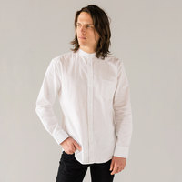 Stock Mfg. Co. Men's White Long Sleeve Banded Collar Shirt - Size 2XL
