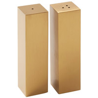 American Metalcraft SPDG33 2 oz. Gold Stainless Steel Rectangular Salt and Pepper Shaker Set