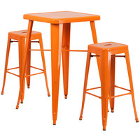 Flash Furniture CH-31330B-2-30SQ-OR-GG 23 3/4 inch Square Orange Metal Indoor / Outdoor Bar Height Table with 2 Square Seat Backless Stools