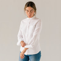Stock Mfg. Co. Women's White Long Sleeve Banded Collar Shirt - Size 2XL