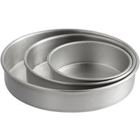 Round 2 inch Deep Aluminum Straight-Sided Cake Pan / Deep Dish Pizza Pan Set - 6 inch, 8 inch, and 10 inch