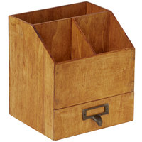 American Metalcraft PWC8 6 5/8 inch x 6 1/2 inch x 7 1/4 inch Natural Poplar Wood Coffee Caddy