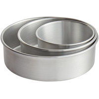 Round 3 inch Deep Aluminum Straight-Sided Cake Pan Set - 6 inch, 8 inch, and 10 inch