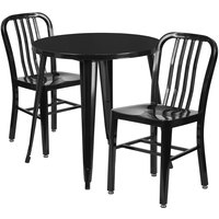 Flash Furniture CH-51090TH-2-18VRT-BK-GG 30 inch Round Black Metal Indoor / Outdoor Table with 2 Vertical Slat Back Chairs
